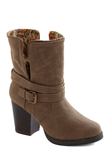 Fold-Fashioned Boot - Tan, Multi, Solid, Floral, Buckles, Casual, Folk Art, Fall, Mid, Faux Leather