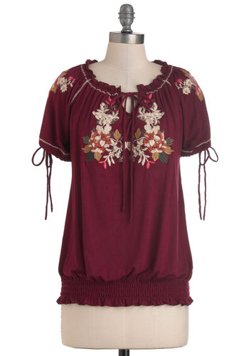 Flower Stand Top - Red, Multi, Floral, Embroidery, Casual, Boho, Short Sleeves, Mid-length, Tie Neck, Jersey