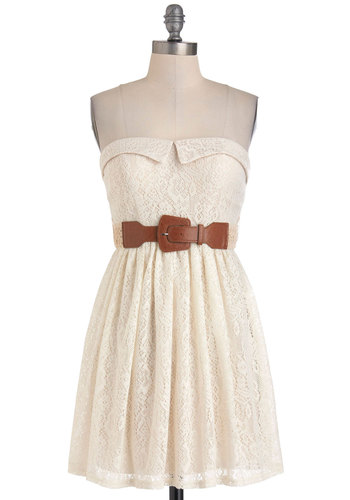 Acoustic Performance Dress - Cream, A-line, Strapless, Summer, Lace, Belted, Casual, Sweetheart, Graduation