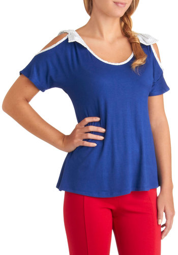 Tonight's the Movie Night Top - Blue, White, Bows, Cutout, Casual, Short Sleeves, Mid-length