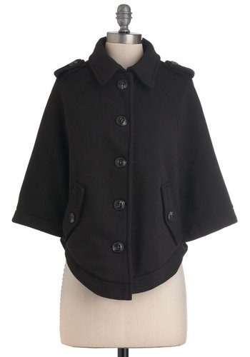 Distinctive Style Cape - Black, Solid, Buttons, Casual, Long Sleeve, Mid-length, 2, Pockets, Film Noir, Vintage Inspired, Minimal, Fall