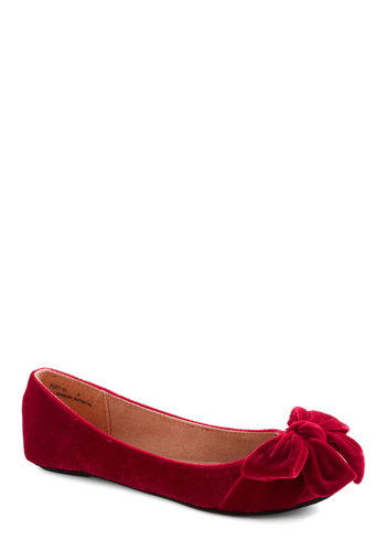Point Your Bows Flat in Ruby - Red, Solid, Bows, Casual, Fall, Flat, Tis the Season Sale, Variation
