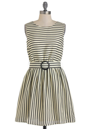 Are You Free Tonight? Dress - Mid-length, Tan / Cream, Black, Stripes, Cutout, Belted, Casual, Sleeveless, Spring, Cocktail, Fit & Flare, Nautical