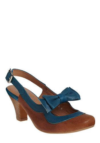 Always Chipper Heel by Jeffrey Campbell - Blue, Brown, Bows, Buckles, Cutout, Party, Work, Casual, Vintage Inspired, Scholastic/Collegiate, Leather, Mid