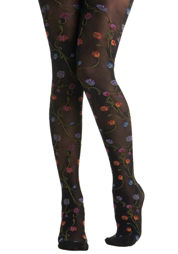 Growing Fonder Tights - Black, Multi, Floral, Party, Casual, Fairytale, Sheer