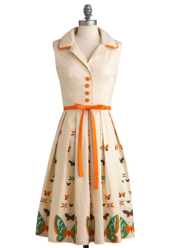 My Bread and Butterfly Dress - Long, Cream, Orange, Print with Animals, Buttons, Pleats, Party, A-line, Shirt Dress, Sleeveless, Spring, Belted, Vintage Inspired