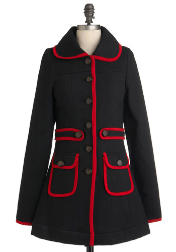 Met Your March Coat by Knitted Dove - Long, Black, Red, Buttons, Pockets, Trim, Long Sleeve, Solid, Casual, 3, Fall, Winter, Mod