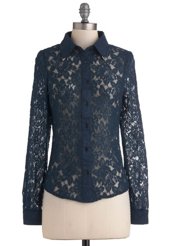 Lacework Like Magic Top - Blue, Solid, Buttons, Lace, Long Sleeve, Mid-length, Party, French / Victorian, Sheer, Button Down, Collared, Cocktail