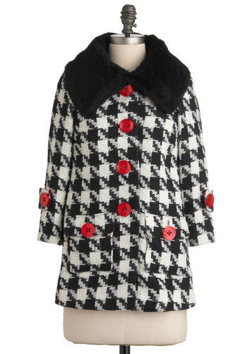 Recommended Reading Coat by Knitted Dove - Mid-length, Black, Red, White, Houndstooth, Buttons, Pockets, Long Sleeve, 3, Party, Vintage Inspired, 50s, Luxe, Fall, Scholastic/Collegiate, Tis the Season Sale, Faux Fur
