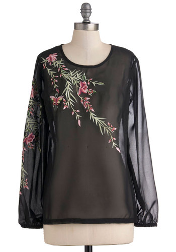 Floral Reverie Top - Black, Floral, Casual, Long Sleeve, Green, Pink, Embroidery, Mid-length, Sheer, Tis the Season Sale
