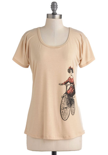 Pedal My Penny-Farthing Top by Effie's Heart - Tan, Red, Black, Short Sleeves, Casual, Mid-length