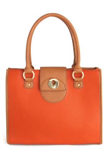 Orange You Adorable Bag - Tan, Red, Colorblocking, Buckles, Work, Faux Leather