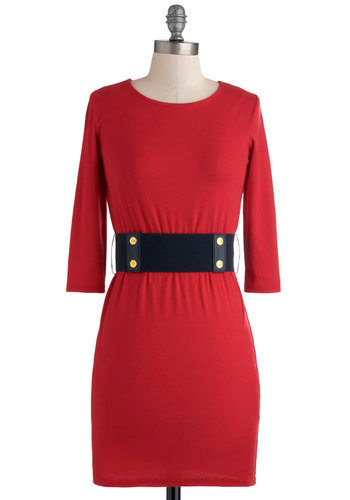 Let's All Fete Together Dress - Short, Red, Solid, Exposed zipper, Sheath / Shift, 3/4 Sleeve, Belted, Party, Urban, Exclusives, Girls Night Out, Holiday Sale