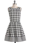 Audrey's Top of the A-line Dress in Houndstooth - Black, White, Houndstooth, Pleats, Party, Work, Sleeveless, Fit & Flare, Mid-length, Exposed zipper, Scholastic/Collegiate, Exclusives, Cotton, Boat