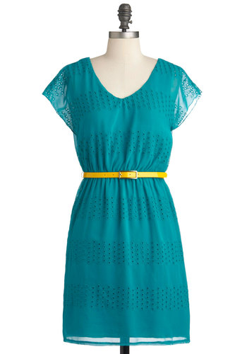 Gift of Fab Dress - Green, Print, Eyelet, Casual, Sheath / Shift, Cap Sleeves, Summer, Mid-length, Solid, Belted