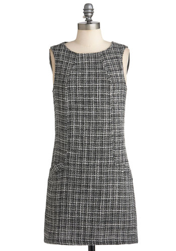 Prime Location Dress - Short, Grey, Black, White, Print, Pockets, Work, Shift, Sleeveless, Fall, Scholastic/Collegiate