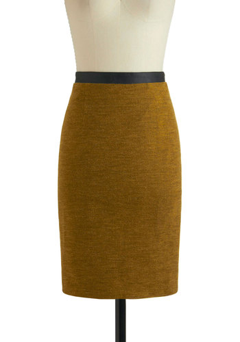 Epitome of Successful Skirt - Mid-length, Yellow, Black, Work, Pencil, Solid, Exposed zipper, Vintage Inspired