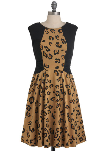 Pounce on Projects Dress by Eva Franco - Brown, Tan / Cream, Animal Print, Pleats, Party, A-line, Sleeveless, Mid-length, Statement, Brown, Tis the Season Sale