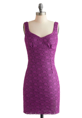 Dazzling Diva Dress - Lace, Party, Shift, Girls Night Out, Mid-length, Purple, Solid, Tank top (2 thick straps), Glitter, Cocktail, Bodycon / Bandage, Sweetheart, Tis the Season Sale