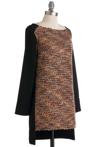 Direct Cinema Tunic - Long, Multi, Orange, Brown, Black, Knitted, Casual, Long Sleeve, Solid, Fall, Winter, Boat