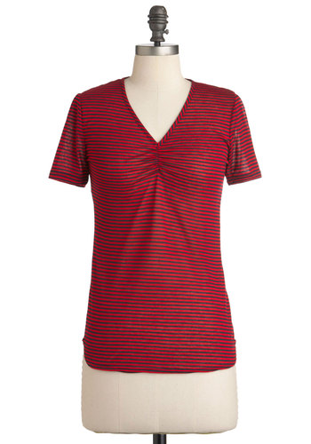 Trail Through Town Top - Red, Blue, Stripes, Casual, Short Sleeves, Nautical, Mid-length, V Neck