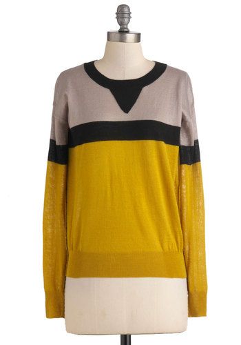 Zest of Both Worlds Sweater - Mid-length, Yellow, Tan / Cream, Black, Casual, Long Sleeve, Menswear Inspired, Fall, 90s