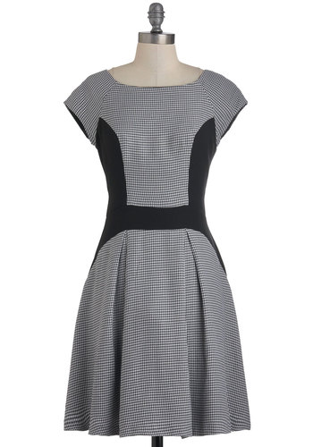 Business Pleating Dress by Eva Franco - Work, A-line, Sleeveless, Mid-length, White, Houndstooth, Pleats, Vintage Inspired, 50s, Scholastic/Collegiate, Tis the Season Sale, Grey, Black