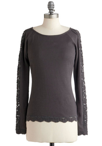 Frill Me In Top - Grey, Solid, Lace, Casual, Long Sleeve, Mid-length