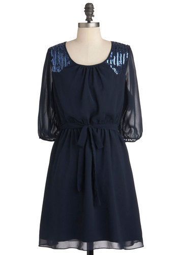 Sea to Shining Sequins Dress - Mid-length, Blue, Sequins, Belted, Solid, Party, A-line, Cocktail, Sheer, 3/4 Sleeve