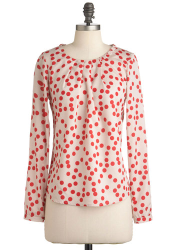 Give Me a Speckle Top - Mid-length, Cream, Red, Polka Dots, Long Sleeve, Buttons, Work