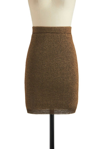 Tinsel Searching Skirt - Mid-length, Brown, Solid, Work, Pencil, Glitter, Cocktail, Holiday Party, Bodycon / Bandage, High Waist