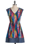 Skews Me Please Dress - Short, Multi, Red, Yellow, Blue, Pink, Print, Party, Casual, A-line, Cap Sleeves, Summer, Folk Art, V Neck