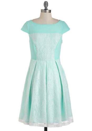 Dinner Mint Dress by Eva Franco - Mid-length, Sequins, Special Occasion, Cocktail, A-line, Cap Sleeves, Spring, White, Pastel, Mint, Boat, Fit & Flare, Tis the Season Sale