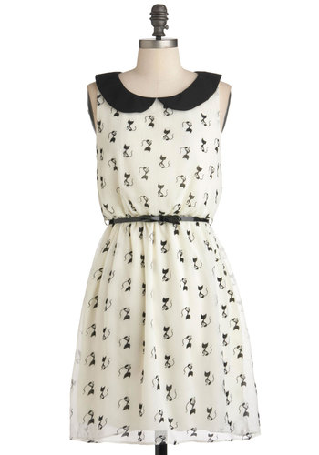 Imagine Me and Meow Dress - Mid-length, White, Black, Print with Animals, Belted, Party, Casual, A-line, Sleeveless, Spring, Quirky
