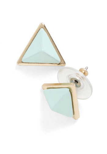 Pyramid Sheen Earrings - Green, Gold, Solid, Casual, Mint, Gold