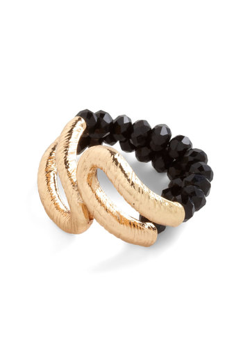 The Bead Goes On Ring - Black, Gold, Beads, Luxe, Girls Night Out