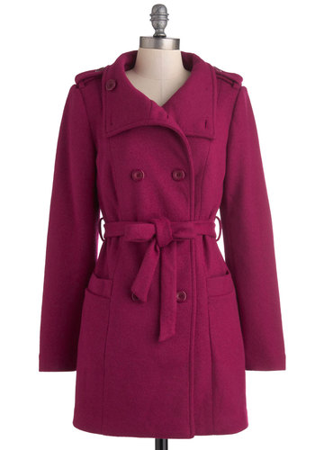 Raspberry Parade Coat by Ladakh - Long, Purple, Solid, Pockets, Belted, Long Sleeve, 3, Buttons, Fall, Winter, Double Breasted