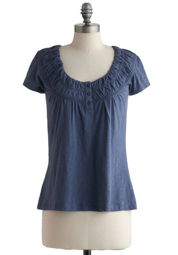Swell Said Top - Blue, Buttons, Casual, Cap Sleeves, Ruching, Solid, Mid-length