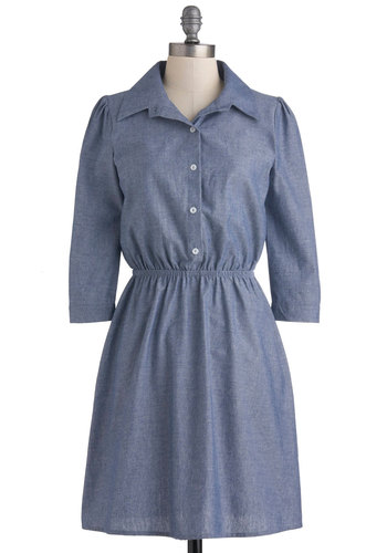 Any Day Now Dress - Mid-length, Blue, Solid, Buttons, Casual, Shirt Dress, 3/4 Sleeve, Fall, Cotton, Collared, Rustic
