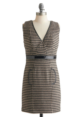 Plenty by Tracy Reese Internship-Ready Dress by Plenty by Tracy Reese - Short, Black, Houndstooth, Pockets, Belted, Work, Sleeveless, Fall, Multi, Brown, Shift, Exposed zipper, Scholastic/Collegiate, V Neck