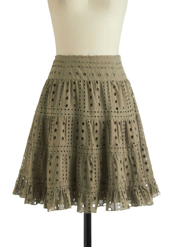 Eyelets of Adventure Skirt - Eyelet, Casual, A-line, Mid-length, Tan, Solid, Ruffles, Cotton