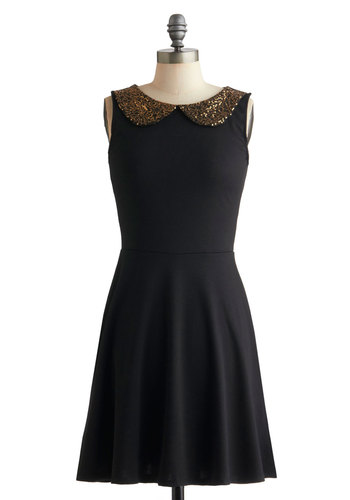 Gilded Girl Dress - Mid-length, Black, Gold, Solid, Peter Pan Collar, Sequins, Cocktail, Sleeveless, Party, Fit & Flare, Glitter, Holiday Party, Collared, Tis the Season Sale