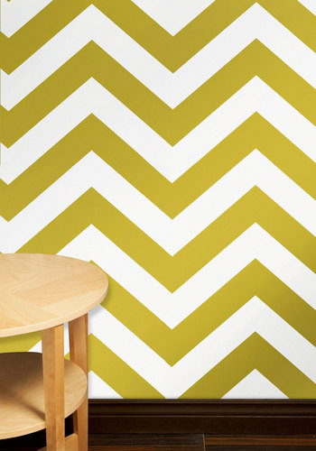 Park Slope Temporary Wallpaper - Yellow, White, Chevron