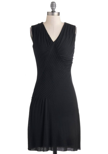 Simply Sable Dress - Black, Party, Shift, Sleeveless, Cocktail, Mid-length, Solid, Ruching, V Neck