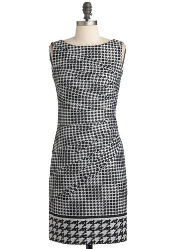 I Saw the Design Dress - Mid-length, Multi, Black, White, Houndstooth, Work, Shift, Sleeveless, Fall, Exposed zipper, Scholastic/Collegiate