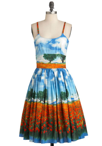 Jenna's Field Good Dress - Blue, Vintage Inspired, Fit & Flare, Long, Multi, Orange, Green, White, Print, Pockets, Spaghetti Straps, Cotton, Daytime Party, Spring, Summer, Pinup, Sundress