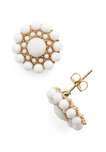 My Own Rendition Earrings in White - White, Gold, Solid, Work, Daytime Party