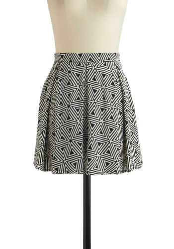 Maybe I'm a Maze Skirt by Motel - White, Casual, A-line, Short, Black, Print, Exposed zipper, Pleats, Exclusives, Tis the Season Sale
