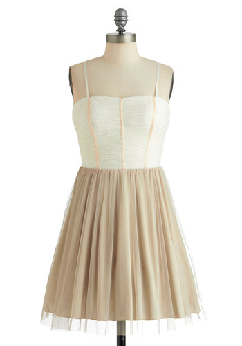 Play Fair-y Dress - Tan / Cream, Gold, A-line, Spaghetti Straps, Ruching, Mid-length, Fairytale, Pastel, Daytime Party, Fit & Flare, Prom, Wedding, Bridesmaid, Summer