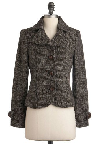 A Tale of Timelessness Jacket - Short, Brown, Buttons, Patch, Long Sleeve, Work, Casual, Menswear Inspired, Fall, 2